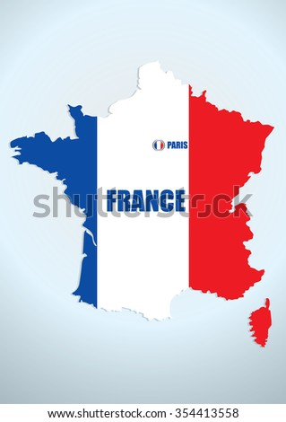 design french vector map  - stock vector