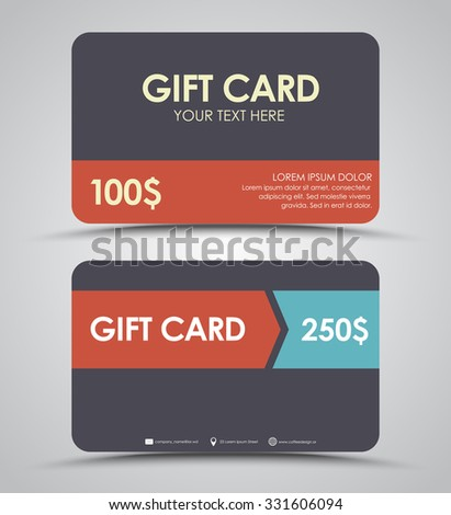 Design gift cards in a retro style. Vector illustration. Set.