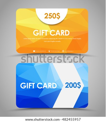 Gift card background stock images royalty free images vectors design gift cards of different values templates with a yellow and blue background polygon and negle Gallery