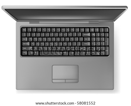 Design gray notebook (laptop). Vector. - stock vector