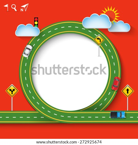 Design green road frame with car and traffic signs. Concept of travel, Vector Template Background, Illustration EPS 10. - stock vector
