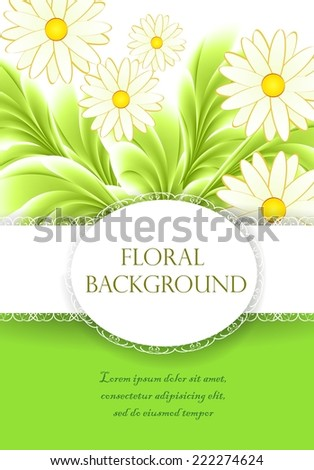 Design greeting card with daisies.
