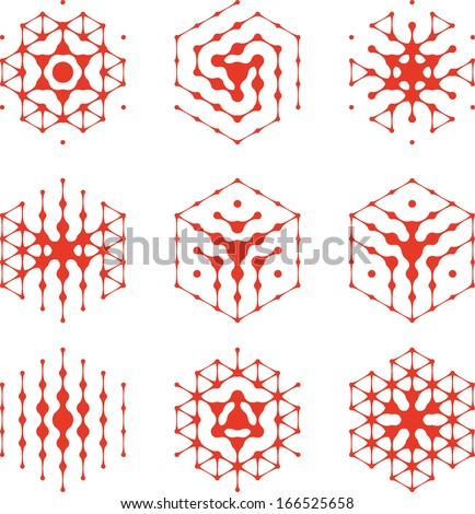 Design halftone hexagon cell element. Abstract water molecule vector logo template set.You can use in the media, mobile, water ,biology, chemistry, science and other commercial image.  - stock vector