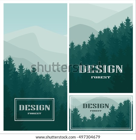 Design icon element business card paper stock vector 497304679 design icon element with business card and paper template set of vector mountains and forest colourmoves