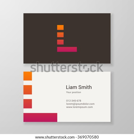 Design icon letter L stripes business card template. Layered, editable. - stock vector