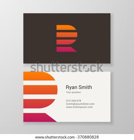 Design icon letter R stripes business card template. Layered, editable. - stock vector