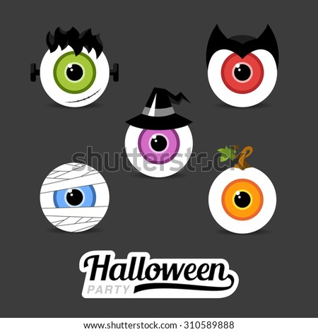 Design Illustration Concepts Eye Hero Halloween. Mummy. Pumkin. Witch. Frankenstein. Dracula. Vector Illustration. Concepts Web Banner and Printed Materials. Trendy and Beautiful. Flat Elements  - stock vector