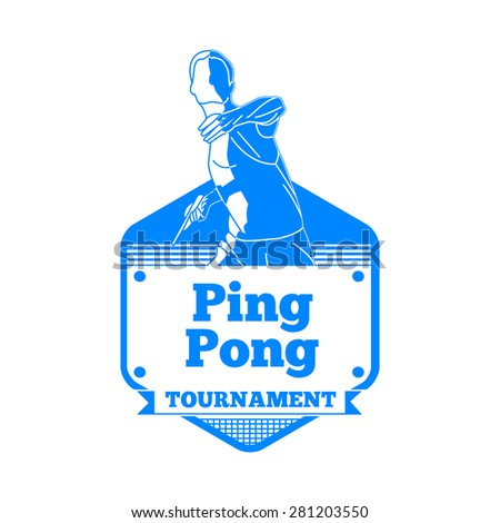 Design Illustration Concepts Icon of Tennis Player Playing Ping Pong with Style Typographic. Vector Illustration. Concepts Web Banner and Printed Materials. Trendy and Beautiful  - stock vector