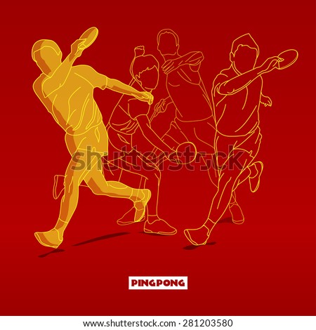 Design Illustration Concepts Silhouettes of Tennis Player Playing Ping Pong with Style Typographic. Vector Illustration. Concepts Web Banner and Printed Materials. Trendy and Beautiful  - stock vector