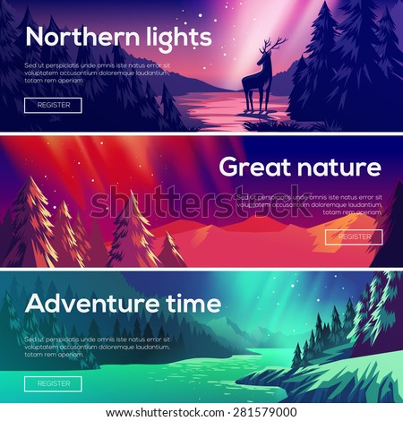 Design illustration for web design development. View of the forest, the mountains , the northern lights. - stock vector