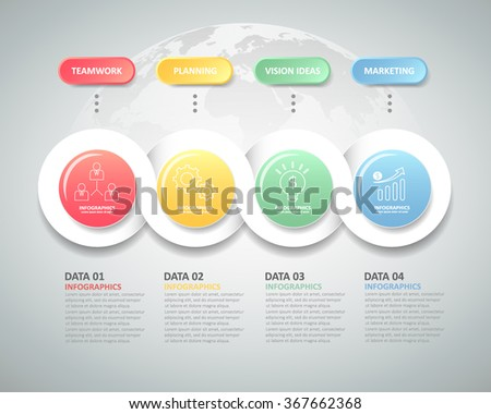 Design infographic template 4 steps for business concept. - stock vector