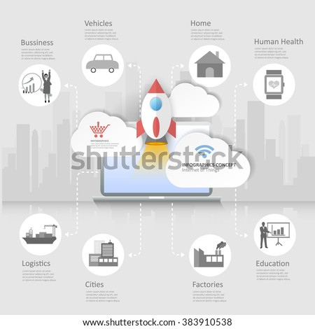 Design Internet of things concept with icons set - stock vector