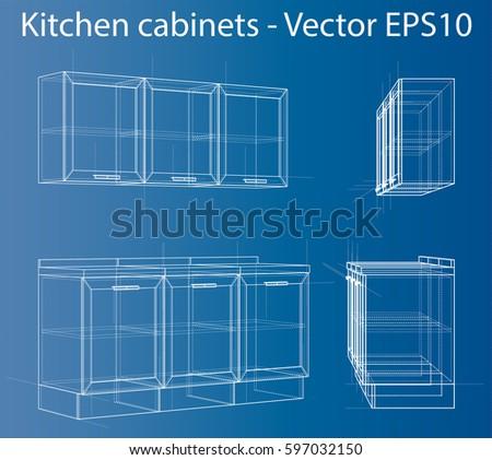 Design kitchen furniture wireframe style perspective stock vector hd design kitchen furniture wire frame style perspective blueprint 3d rendering vector illustration malvernweather Images