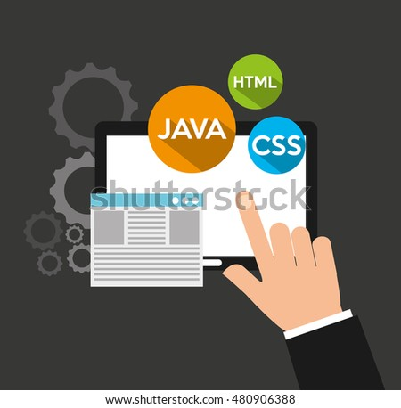 design language programming software concept vector illustration