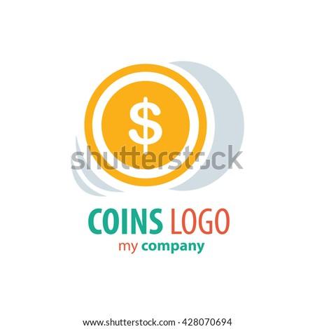design Logo Coins yellow color - stock vector