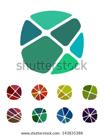 Design logo element. Crushing abstract round rectangle pattern. Colorful precious stone icons set. - stock vector