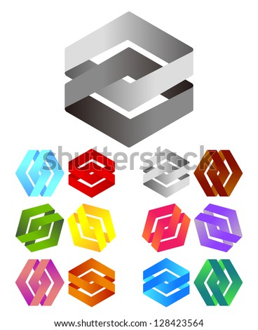 Design logo element. Infinite cross ribbon vector design icon template. - stock vector