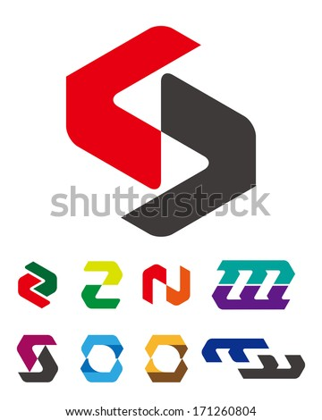 "Design logo vector template. ""c"", ""v"", ""m"", ""n"", ""f"", ""o"", ""s"" letters icon set.  You can use in the commerce, financial, traffic, construction and communication concept of pattern.  - stock vector"