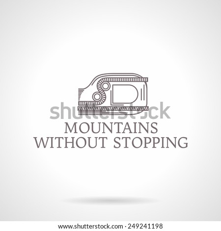 Design logotype with gray vintage line style ascender device for climbing. Abstract vector illustration for rock climbing with words Love For The Mountains for some business or website. Logo - stock vector