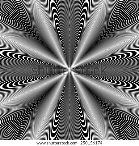 Design monochrome circle movement illusion background. Abstract strip geometric backdrop. Spider web twisted texture. Vector-art illustration. No gradient - stock vector