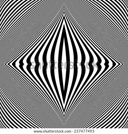 Design monochrome movement illusion background. Abstract striped lines twisted distortion backdrop. Vector-art illustration. No gradient