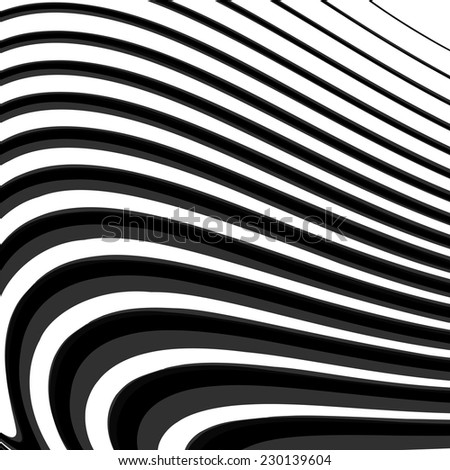 Design monochrome parallel waving lines background. Abstract textured twisting backdrop. Vector-art illustration. No gradient. EPS10 - stock vector