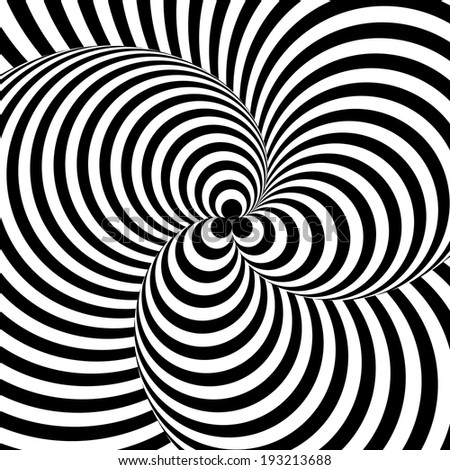Design monochrome twirl circular movement illusion background. Abstract stripy distortion twisted backdrop. Vector-art illustration - stock vector