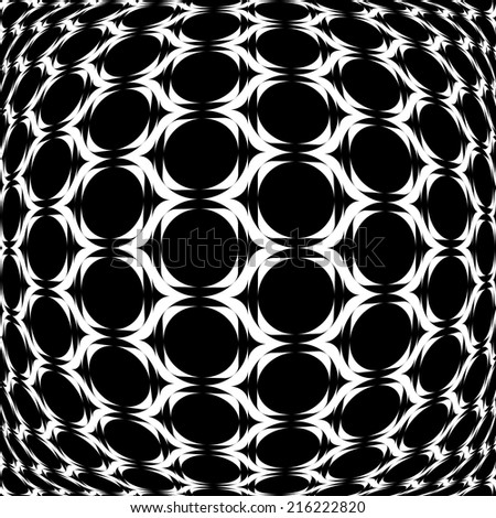 Design monochrome warped grid geometric pattern. Abstract latticed textured background. Vector art - stock vector