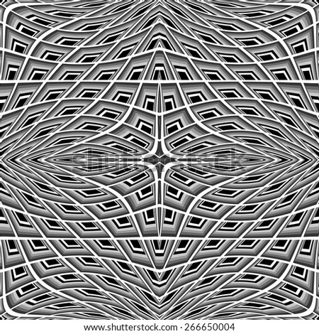 Design monochrome warped grid pattern. Abstract latticed textured background. Vector-art illustration. No gradient - stock vector
