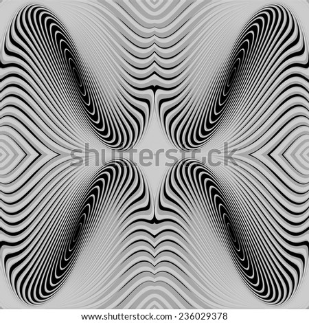 Design monochrome whirl circular movement background. Abstract stripy twisted warped textured backdrop. Vector-art illustration. EPS10 - stock vector