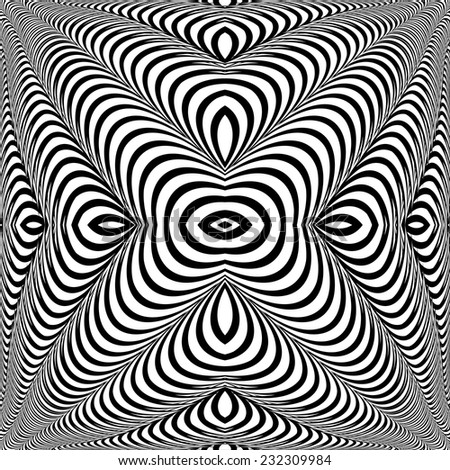 Design monochrome whirl illusion background. Abstract stripe torsion twisted backdrop. Vector-art illustration - stock vector
