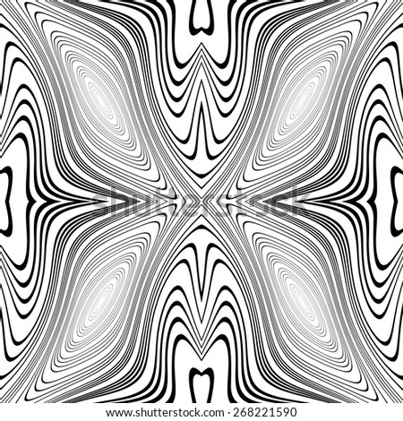Design monochrome whirl movement background. Abstract stripy warped twisted backdrop.  - stock vector