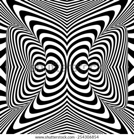 Design monochrome whirl movement illusion background. Abstract stripe torsion twisted backdrop. Vector-art illustration - stock vector