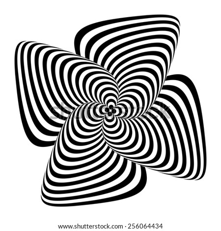 Design monochrome whirlpool motion illusion background. Abstract striped twisted distortion backdrop. Vector-art illustration - stock vector