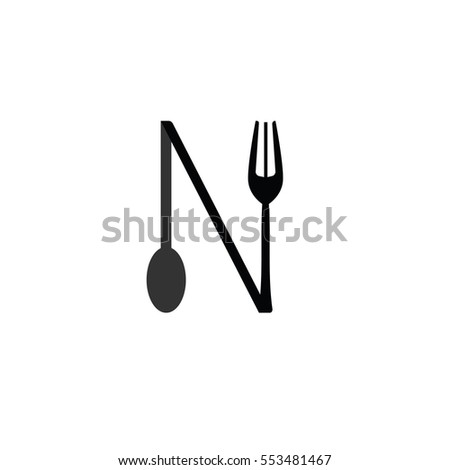 design N fork and spoon icon flat. Simple vector grey