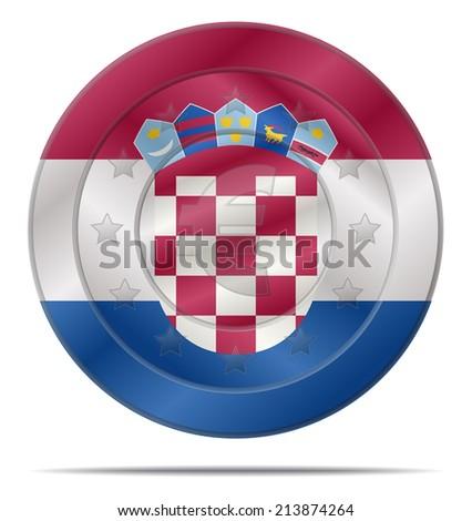design of a euro coin with the croatia flag  - stock vector