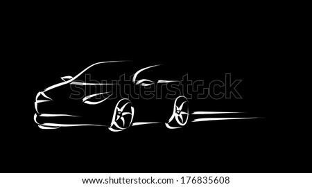 Design of a sports convertible car on black background. Vector - stock vector