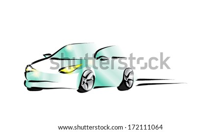 Design of a sports convertible car on white background . Vector - stock vector