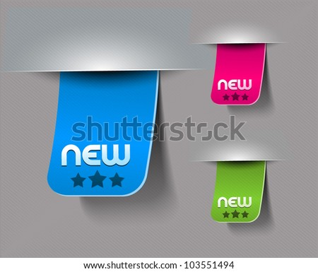 Design of advertisement labels stickers - stock vector
