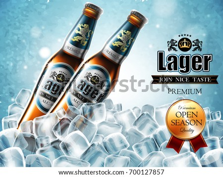 Design of advertising beer with two bottles in ice cubes. High detailed illustration.