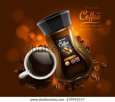 Design of advertising coffee with a picture of a cup of coffee and coffee jar on a golden brown background