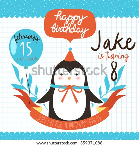 design of birthday party invitation with cute cartoon baby penguin with balloon on lined background. can be used for greeting cards
