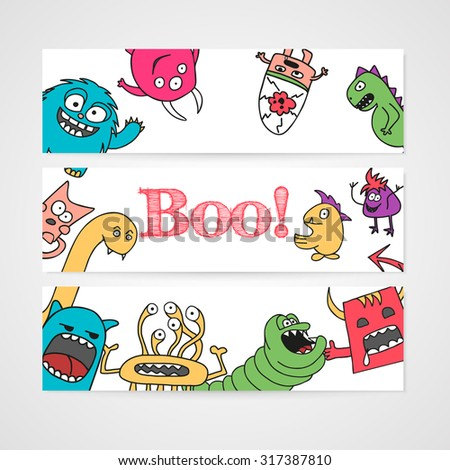 Design of brochure with abstract monsters pattern. Vector illustration.