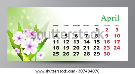 Design of calendar 2016. April.