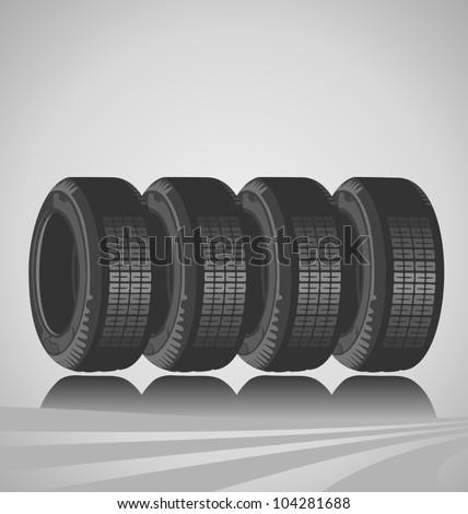 Design of car tires - stock vector