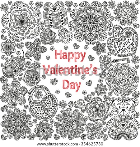 Design of card for Valentines day. Pattern with flowers, hearts, bear, gift and key.  Text Love you and Happy Valentines day.  Beautiful  floral background. Good for weddings, invitations, birthdays - stock vector