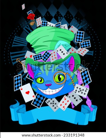 Design of Cheshire Cat in Top Hat and monocle - stock vector