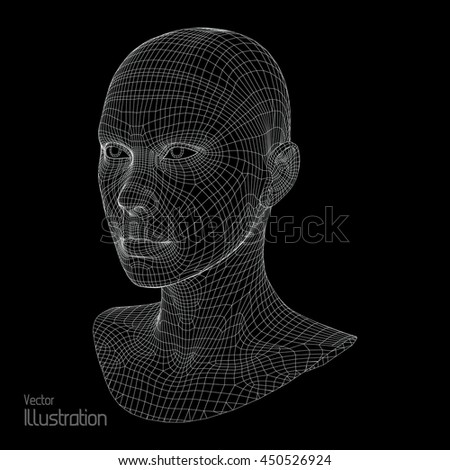 Design of 3d wireframe head . Female wireframe 3d head model isolated of white background . Digital technology vector illustration . Wireframe head model for presentations .