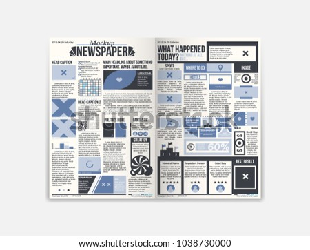 Design Daily Newspaper Template Two Pages Stock Vector 1038730000
