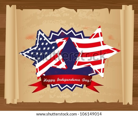 Design of Independence Day on papyrus roll, vector illustration